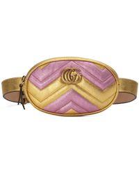 3f1cfa0ce511 Lyst - Gucci Gg Marmont Matelassé Velvet Belt Bag in Blue