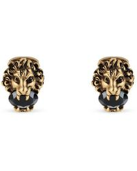 Gucci - Lion Head Cufflinks With Crystals - Lyst