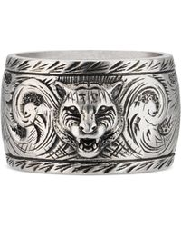 Gucci - Wide Silver Ring With Feline Head - Lyst