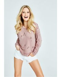 Guess - Destroyed Lace-up Sweatshirt - Lyst