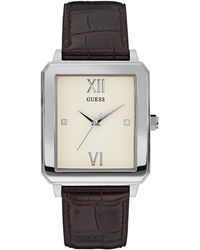 Guess - Brown And Silver-tone Rectangle Watch - Lyst
