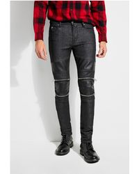 Guess - Zipper Moto Skinny Jeans - Lyst