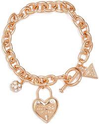 Guess - Gold-tone Chain-link Logo Bracelet - Lyst