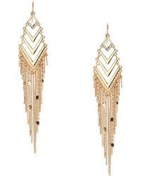 Guess - Shevy Gold-tone Fringe Drop Earrings - Lyst
