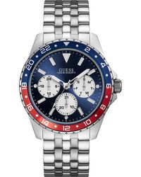 Guess - Silver-tone And Blue Multifunction Watch - Lyst