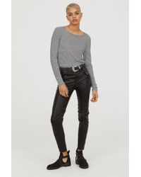 H&M - Imitation Leather Trousers - Lyst