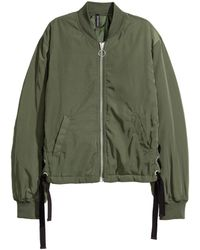 H&M - Bomber Jacket With Lacing - Lyst