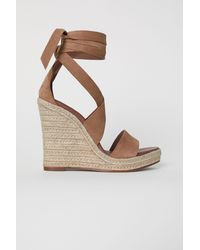 H&M - Suede Wedge-heel Sandals - Lyst