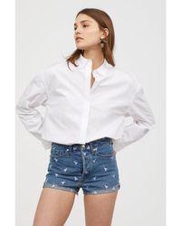 H&M - Embroidered Denim Shorts - Lyst