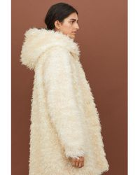 H&M - Hooded Faux Fur Coat - Lyst
