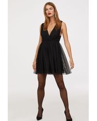H&M - V-neck Tulle Dress - Lyst