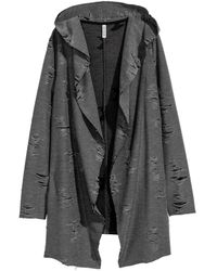 H&M - Trashed Hooded Cardigan - Lyst