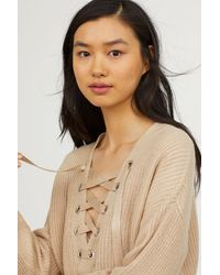 H&M - Knitted Jumper With Lacing - Lyst