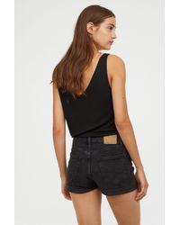 H&M - Denim Shorts High Waist - Lyst