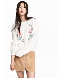 H&M - Knitted Jumper With Embroidery - Lyst