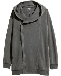 H&m Long Sweatshirt Cardigan in Gray | Lyst