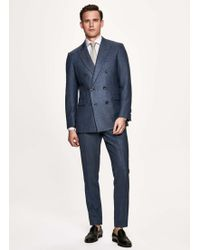 Hackett - Denim Twill Wool Silk And Linen Double Breasted Suit - Lyst