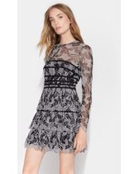 Halston - Lace Dress With Strapping Detail - Lyst