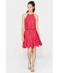Halston - Sleeveless Round Neck Dress With Pleated Flounce - Lyst