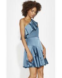 Halston - Flounce One Shoulder Satin Dress - Lyst