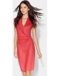 Halston - Fitted Drape Front Boiled Wool Dress - Lyst