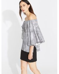 Halston - Off-the-shoulder Printed Silk-chiffon Top - Lyst