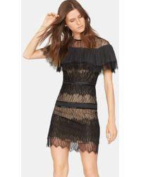 Halston - Woman Crepe De Chine-paneled Bead-embellished Lace Mini Dress Black - Lyst