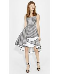 Halston Heritage | Striped Dress With Full Skirt | Lyst