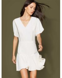 Halston - Short Sleeve Tape Detail Flounce Dress - Lyst