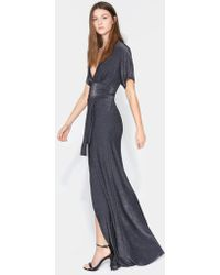 Halston - Short Sleeve V Neck Metallic Jersey Kimono Gown - Lyst