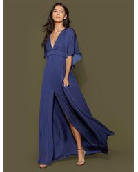 Halston - Cape Sleeve Flowy Pleated Gown - Lyst