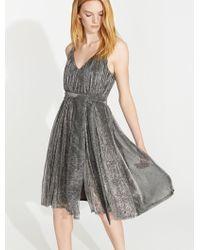 Halston - Lurex Jersey Dress With Sash - Lyst