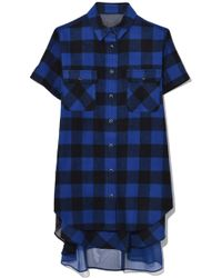 Sacai - Buffalo Check Tunic In Blue/black - Lyst