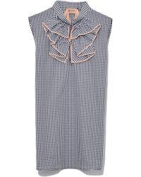 N°21 - Sleeveless Ruffle Collar Shirt In Check - Lyst