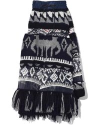 Sacai - Native American Knit Combo Skirt In Navy - Lyst