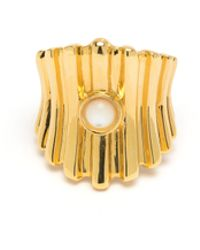 Lizzie Fortunato - Ridged Ring In Pearl - Lyst