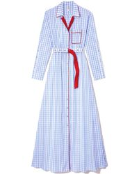 Adam Selman - Pj Shirt Gown In White/sky Gingham - Lyst