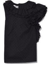 Co. - Sleeveless Ruffle Detail Blouse In Black - Lyst