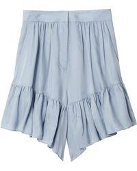 Tibi - Cupro Ruffle Short In Blue Grey - Lyst