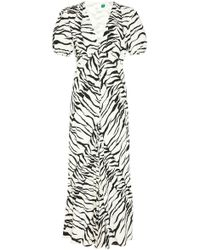 RIXO London - Tonya Dress In White Black Tiger - Lyst
