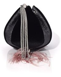 the VOLON - Cindy Feather Bag In Velvet Black - Lyst