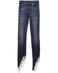 R13 - Kate Skinny Jean In Howell Indigo With Angled Fray Hem - Lyst