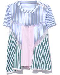 Sacai - Shirting Stripe Top In Stripe Multi - Lyst