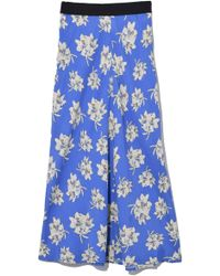 By Malene Birger - Printed Satin Skirt In Vintage Blue - Lyst