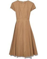 Aspesi - Popeline Short Sleeve Dress With Pleats In Beige - Lyst