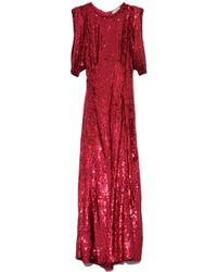 Attico - Long Tulle Dress With All-over Sequins In Red - Lyst