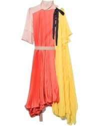 Sacai Satin Pleated Dress In Orange/yellow