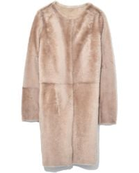 Yves Salomon - Merino Lamb Coat In Dune - Lyst