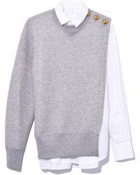 Sacai - Sweat Shirting Combo Shirt In Light Gray - Lyst