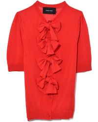 Simone Rocha | Puff Sleeve Bow Cardigan In Red | Lyst